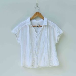 White Collared Button Up Crop Top